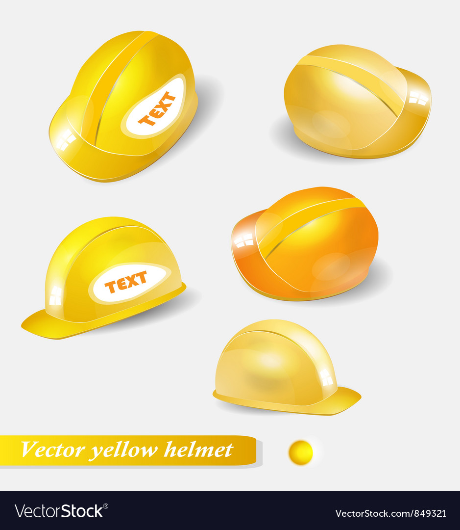 Yellow helmet set isolated object vector | Price: 1 Credit (USD $1)