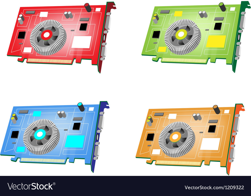 A colorful set of video card vector | Price: 1 Credit (USD $1)