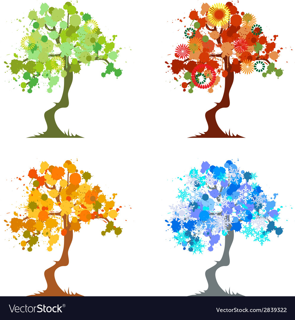 Abstract trees four seasons vector | Price: 1 Credit (USD $1)