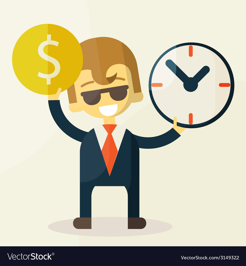 Businessman has money and clock vector | Price: 1 Credit (USD $1)