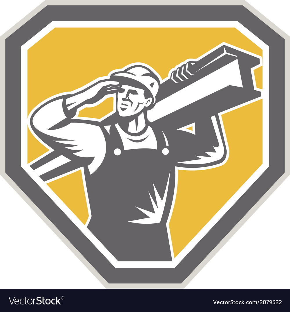 Construction steel worker carrying i-beam retro vector | Price: 1 Credit (USD $1)