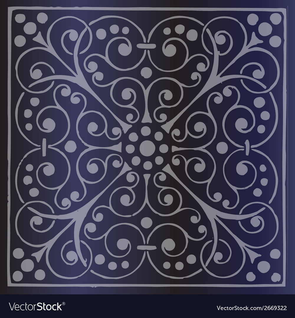 Floral pattern on a dark blue background vector | Price: 1 Credit (USD $1)