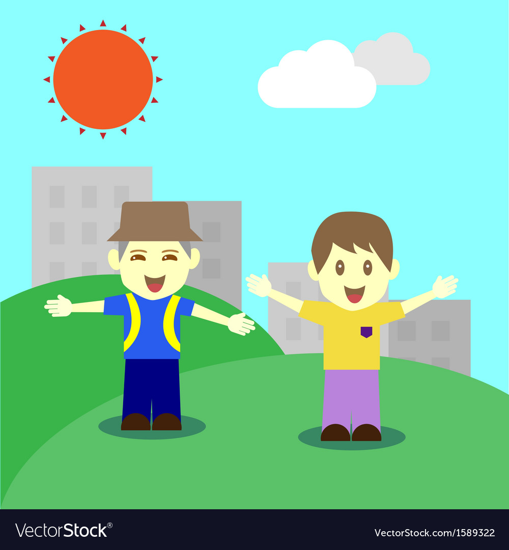 Happy children in fine day vector | Price: 1 Credit (USD $1)