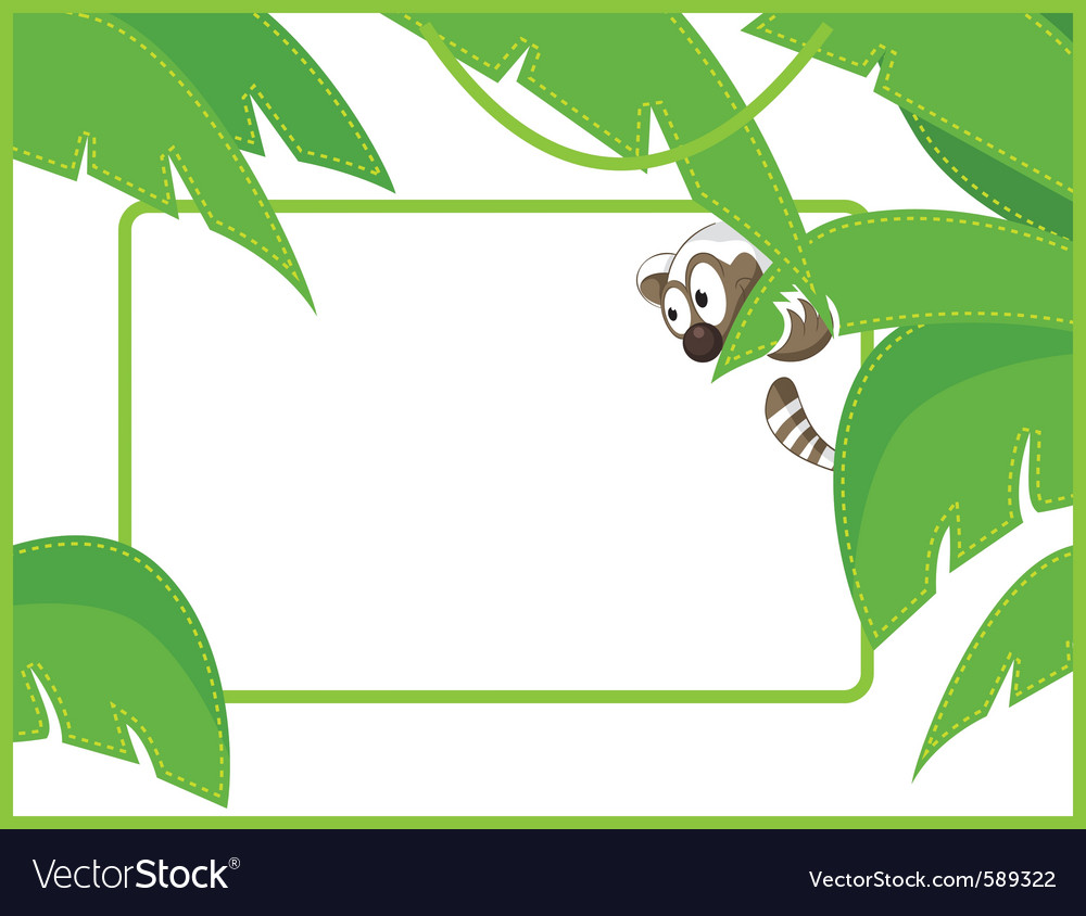 Label frame raccoon vector | Price: 1 Credit (USD $1)