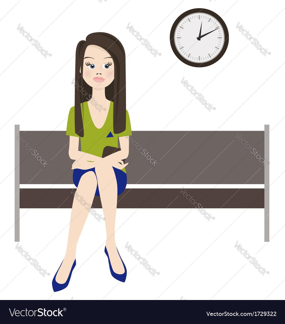 Melancholy woman wait vector | Price: 1 Credit (USD $1)