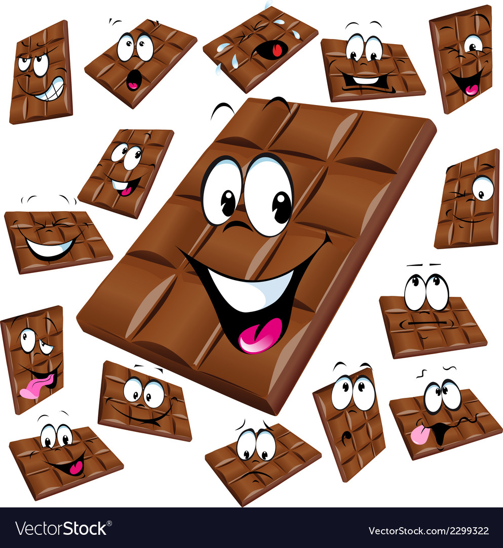 Milk chocolate cartoon with many expression vector | Price: 1 Credit (USD $1)