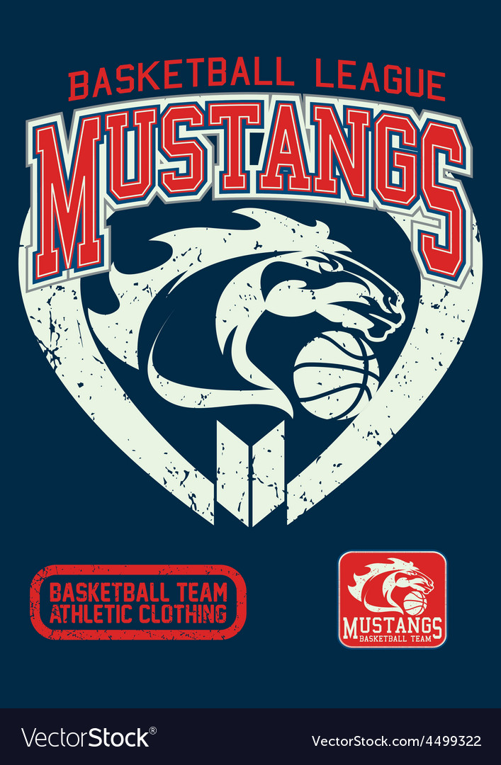 Mustangs basketball league on a navy background vector | Price: 1 Credit (USD $1)