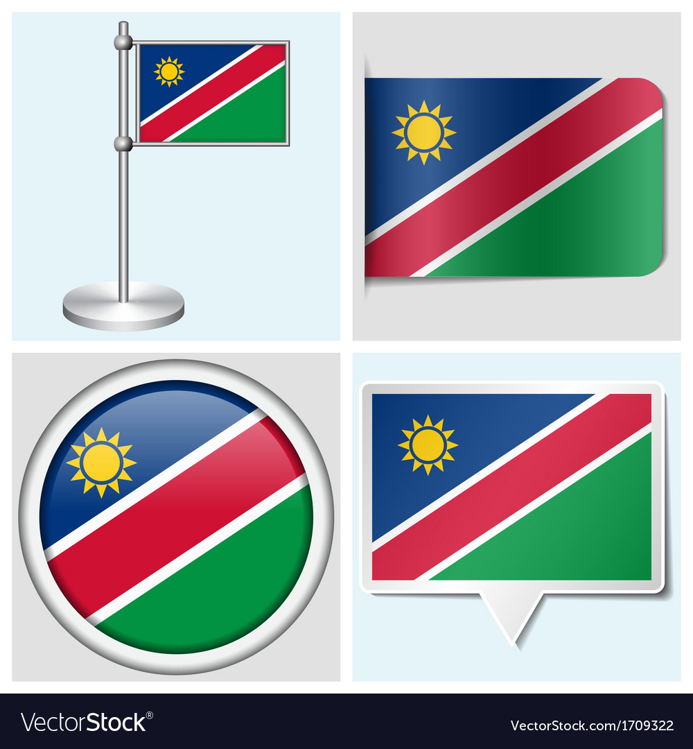 Namibia flag - sticker button label flagstaff vector | Price: 1 Credit (USD $1)