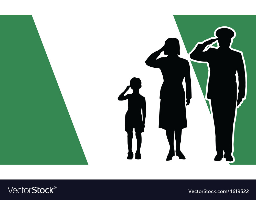 Nigeria soldier family salute vector | Price: 1 Credit (USD $1)