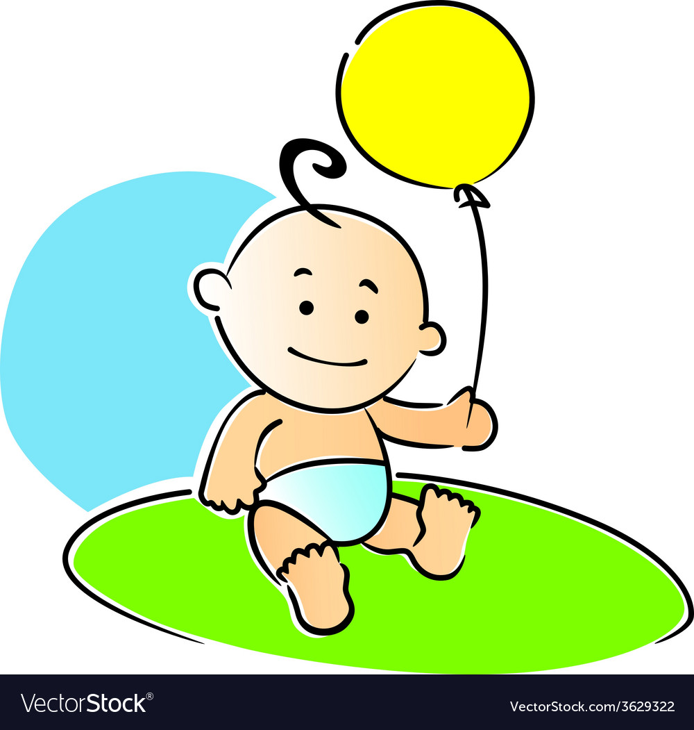 Small baby playing with a yellow balloon vector | Price: 1 Credit (USD $1)