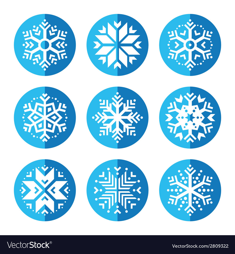 Snowflakes round blue icon set vector | Price: 1 Credit (USD $1)