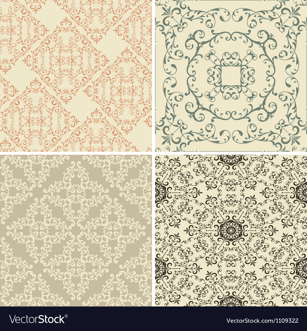 Vintage floral seamless patterns vector | Price: 1 Credit (USD $1)
