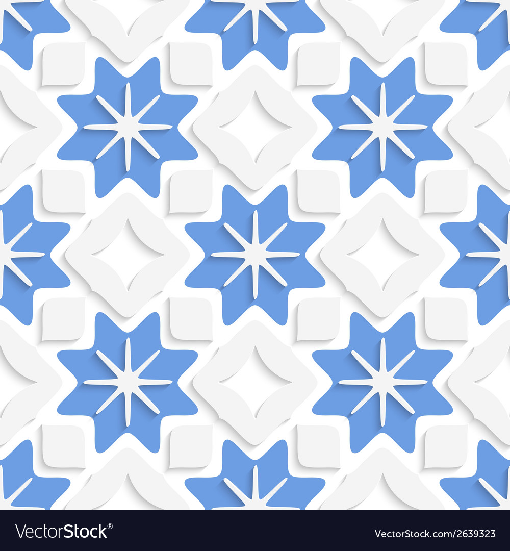Blue snowflakes and white squares seamless vector | Price: 1 Credit (USD $1)