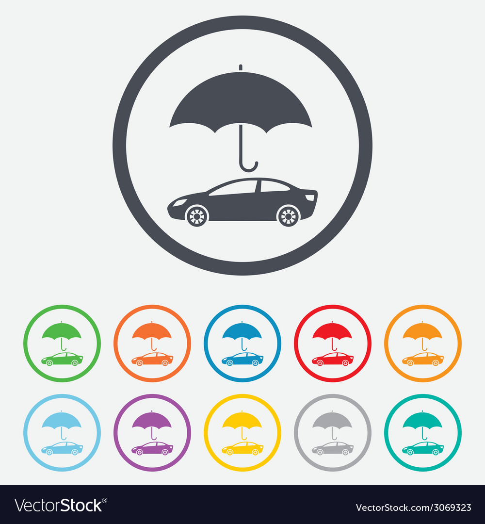 Car insurance sign icon protection symbol vector | Price: 1 Credit (USD $1)