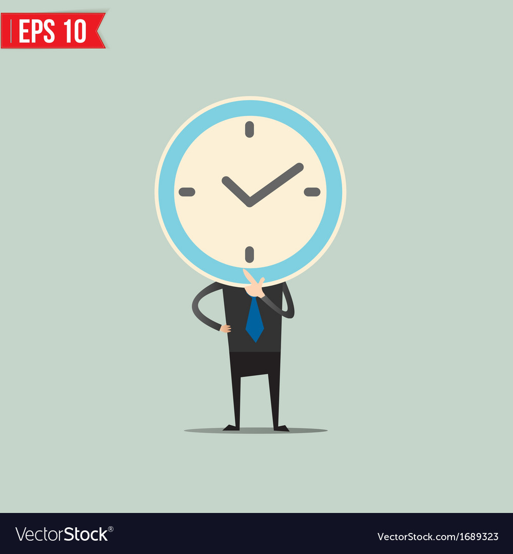 Cartoon business man with clock face - - ep vector | Price: 1 Credit (USD $1)