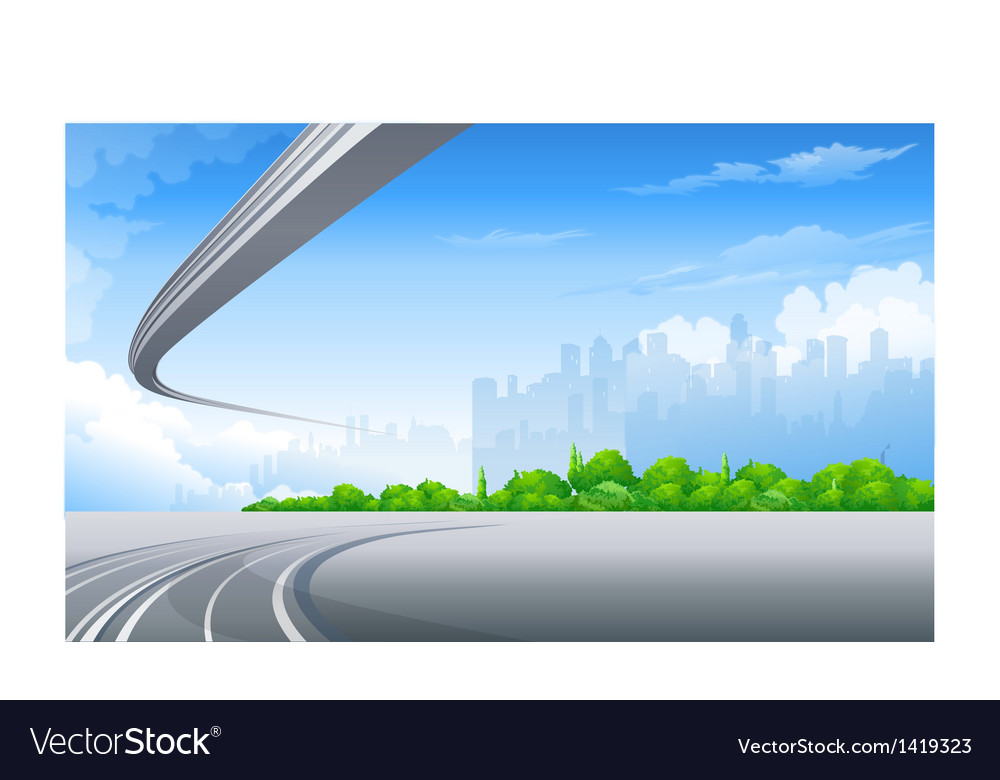 Freeway and city skyline vector | Price: 1 Credit (USD $1)