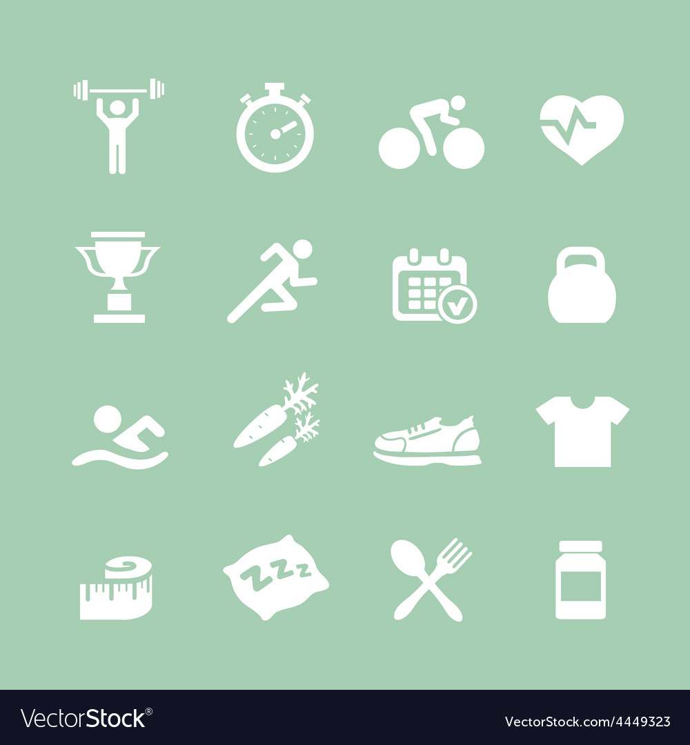Health and fitness white icons set icons vector | Price: 1 Credit (USD $1)
