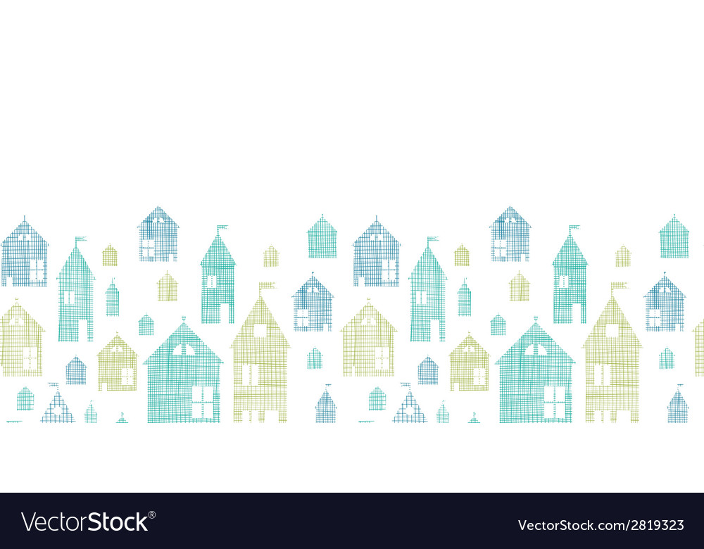 Houses blue green textile texture horizontal vector | Price: 1 Credit (USD $1)