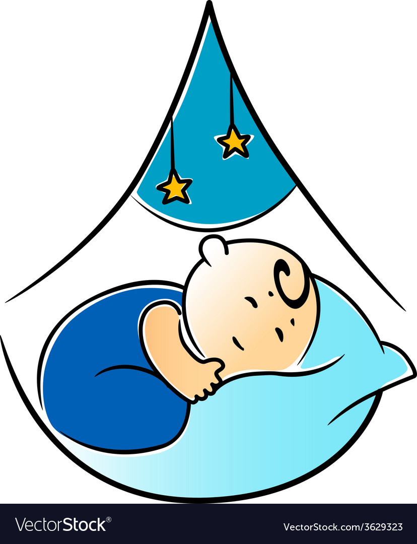 Little baby fast asleep in its cot vector | Price: 1 Credit (USD $1)