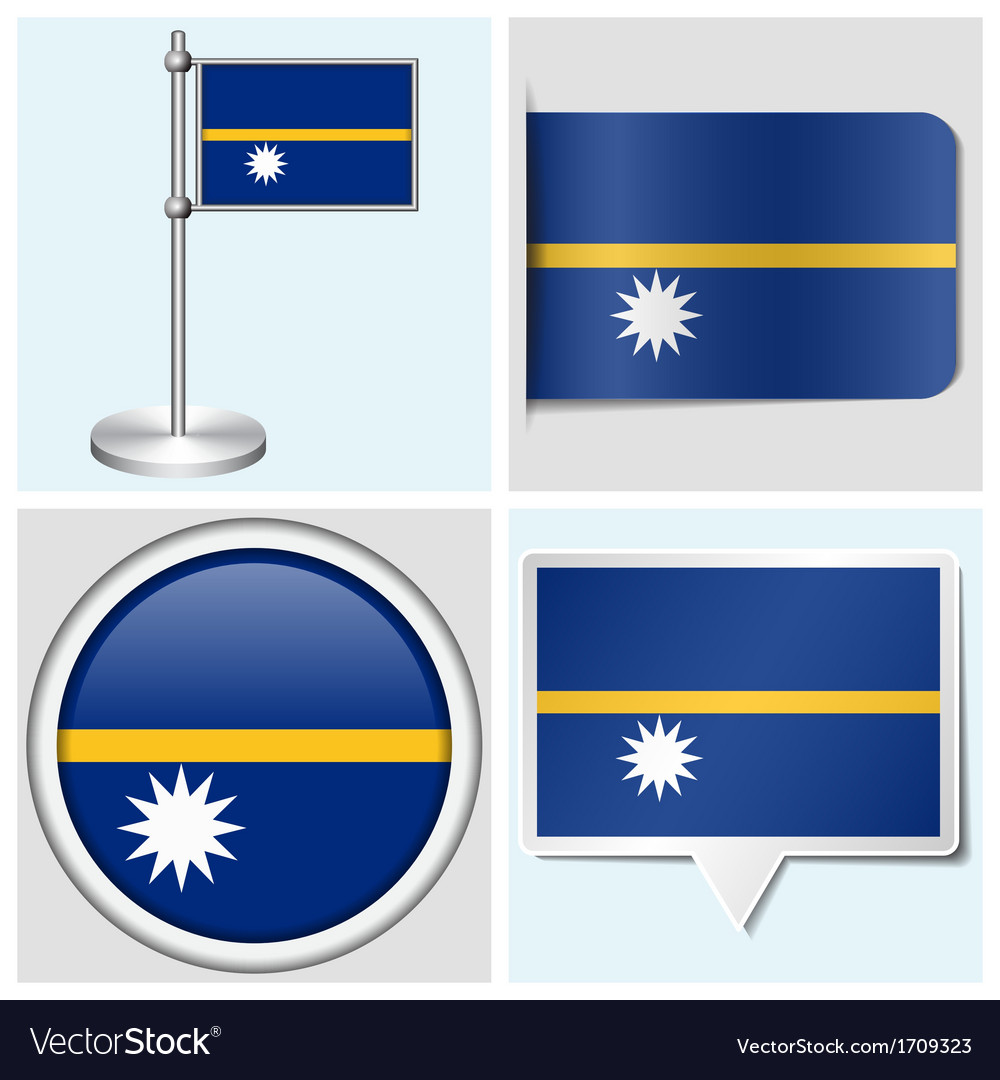 Nauru flag - sticker button label flagstaff vector | Price: 1 Credit (USD $1)