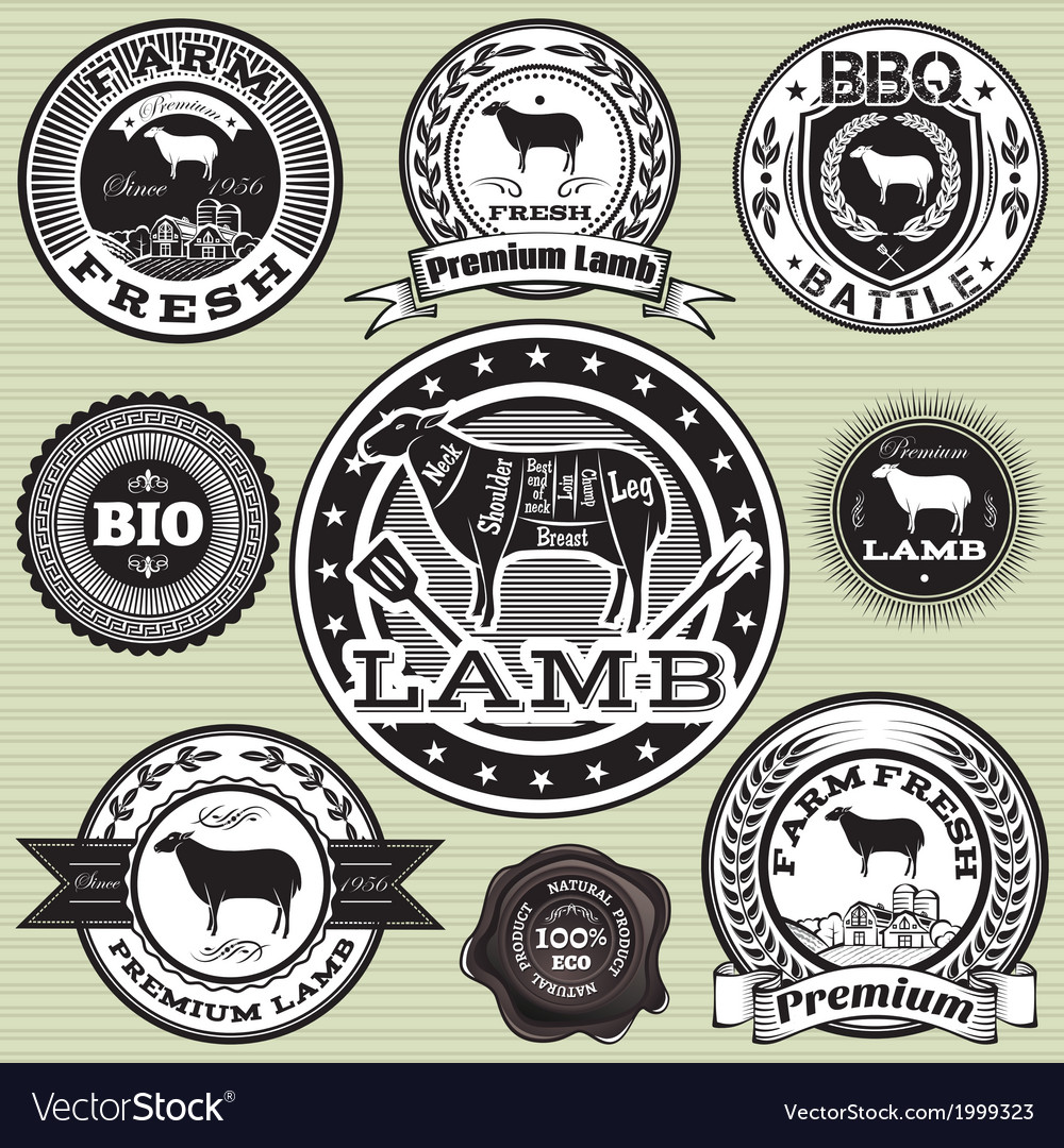 Set of labels with sheep and lamb vector | Price: 1 Credit (USD $1)