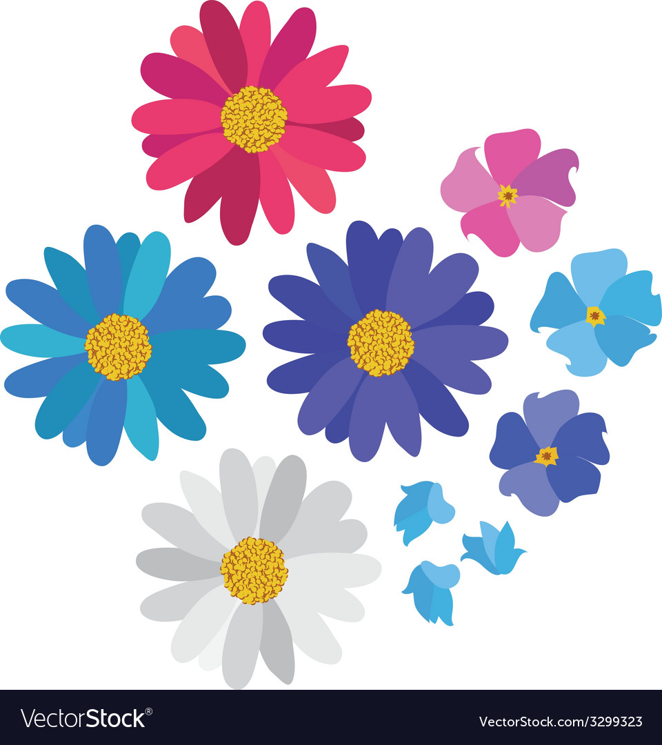 Simple flower daisy collection isolated on white vector | Price: 1 Credit (USD $1)