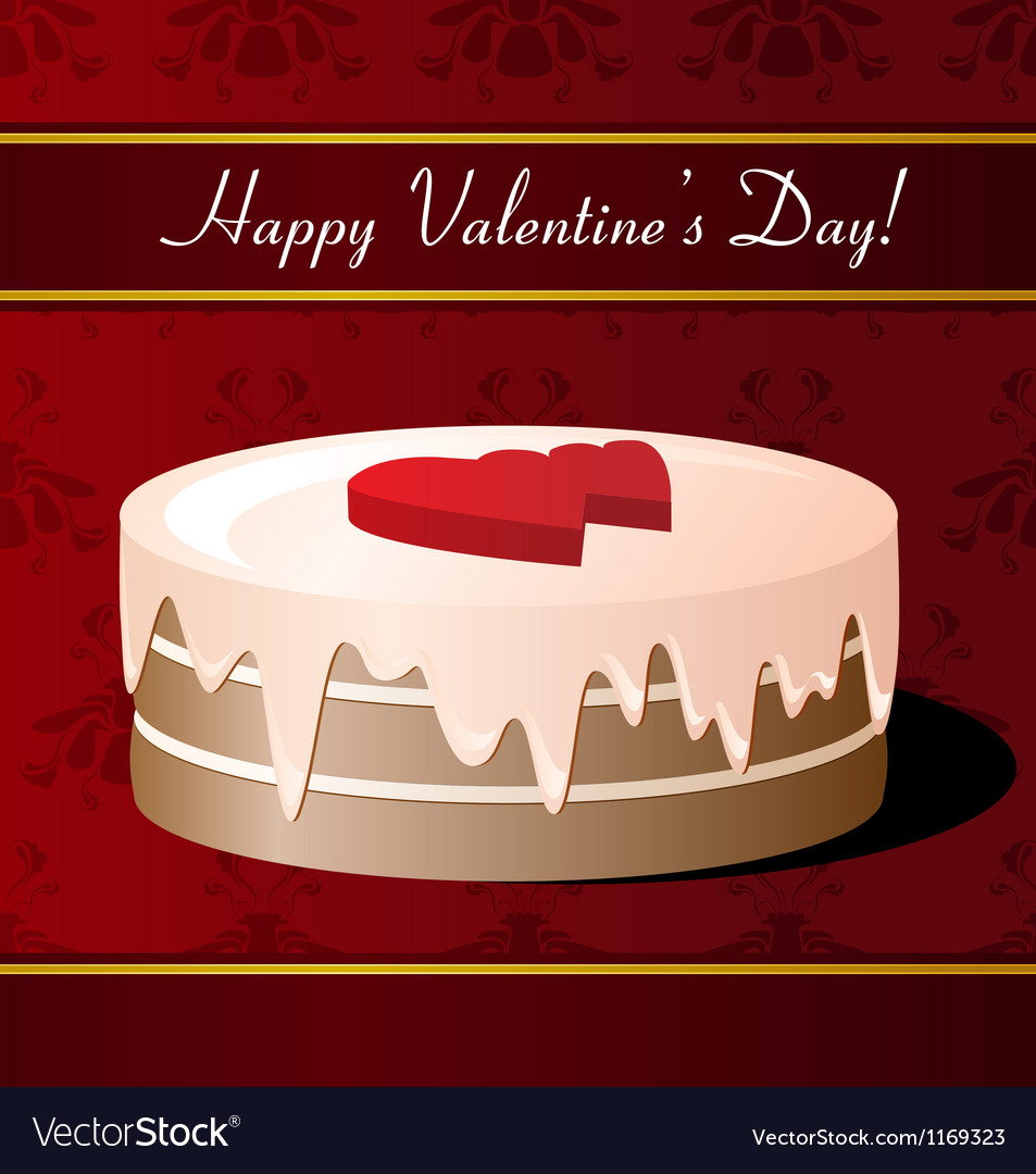 Valentines day greeting card with cake vector | Price: 1 Credit (USD $1)