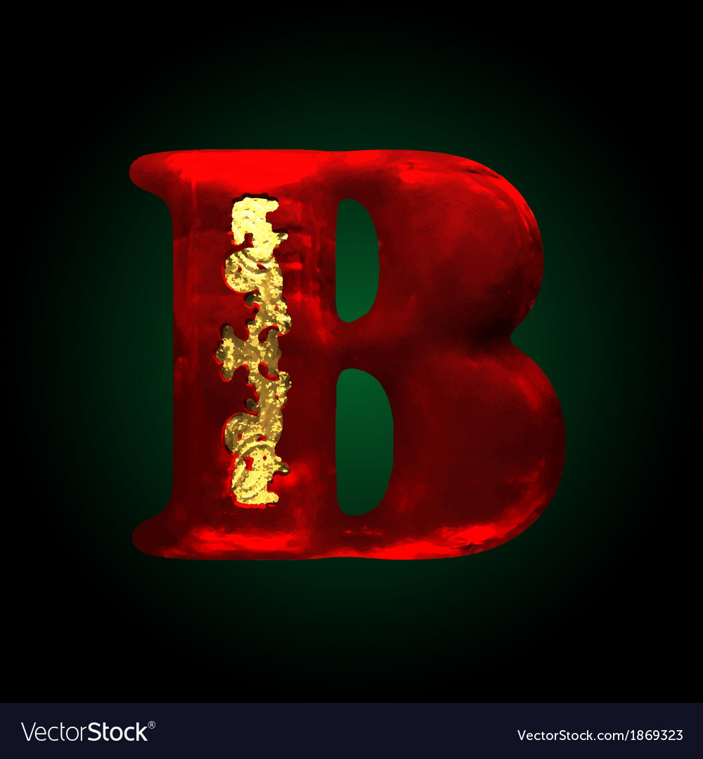 Velvet b letter with gold vector | Price: 1 Credit (USD $1)