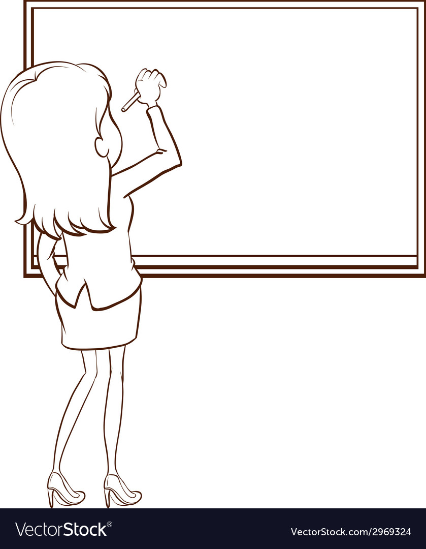 A simple sketch of a teacher writing vector | Price: 1 Credit (USD $1)