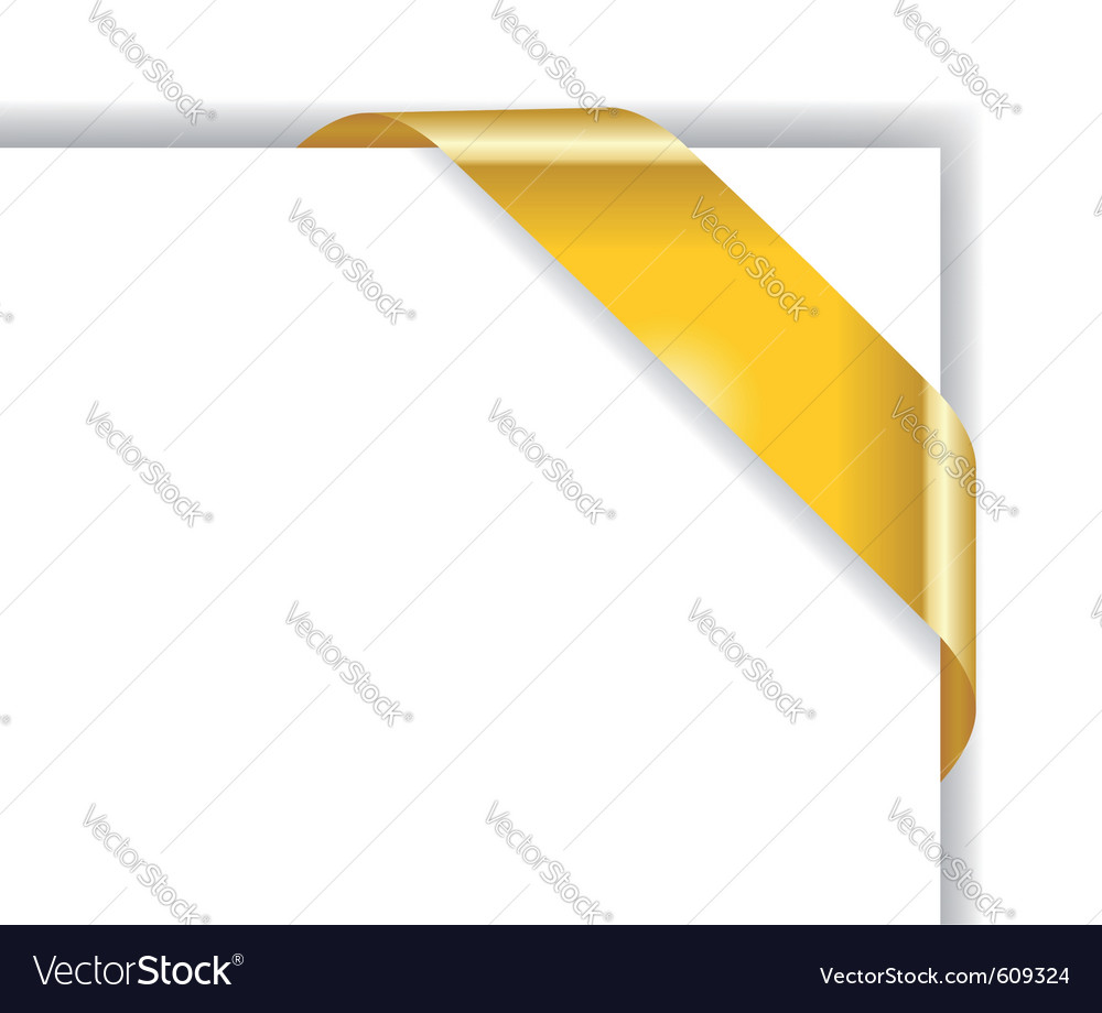 Card for advertising with golden corner ribbon vector | Price: 1 Credit (USD $1)