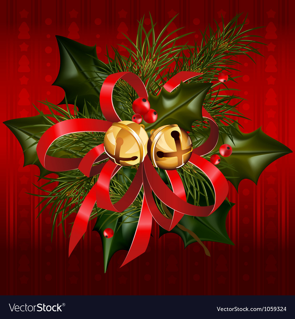 Christmas jingle bells with red ribbon vector | Price: 3 Credit (USD $3)