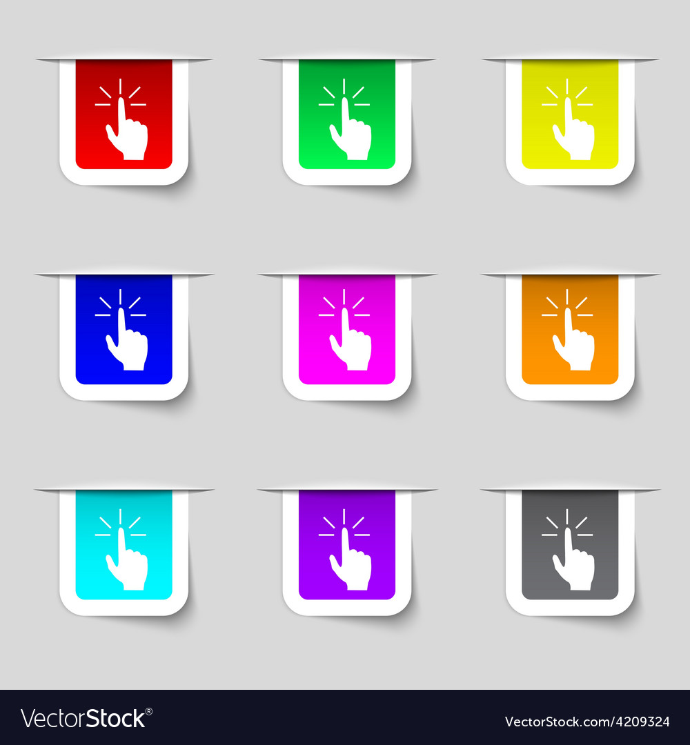 Click here hand icon sign set of multicolored vector | Price: 1 Credit (USD $1)