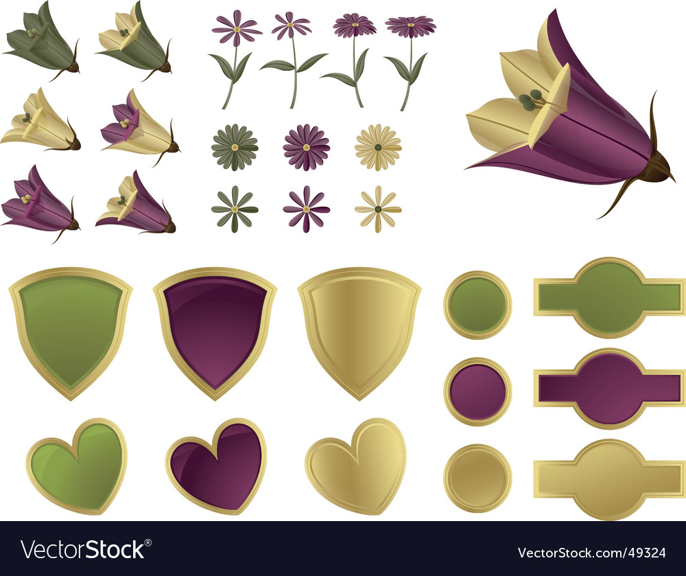 Design elements flowers and shields vector | Price: 1 Credit (USD $1)