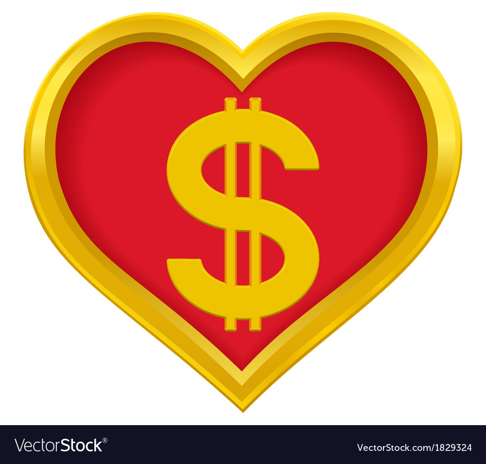 Dollar heart vector | Price: 1 Credit (USD $1)
