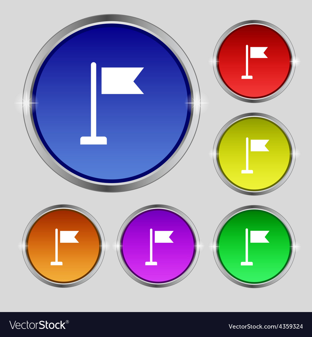 Flag icon sign round symbol on bright colourful vector | Price: 1 Credit (USD $1)