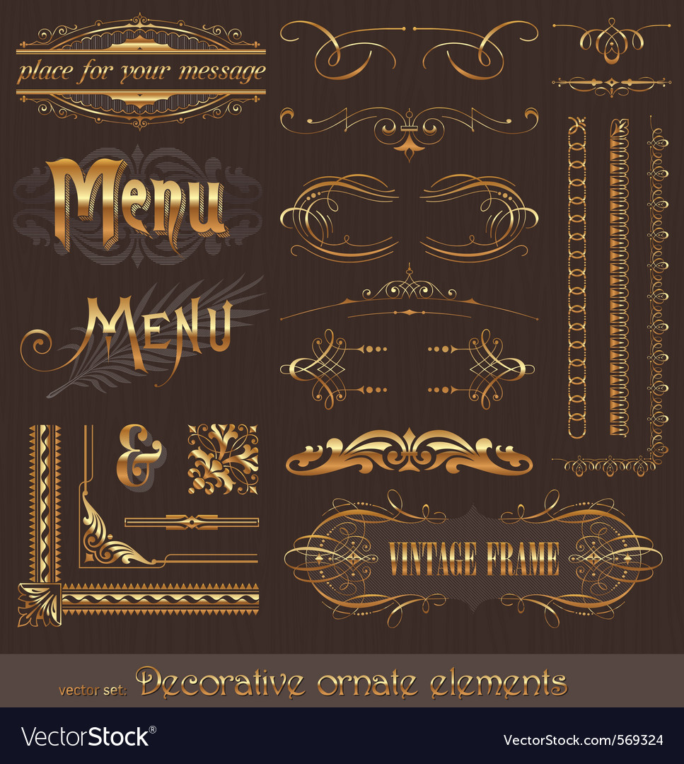 Golden design elements and page decor vector | Price: 3 Credit (USD $3)