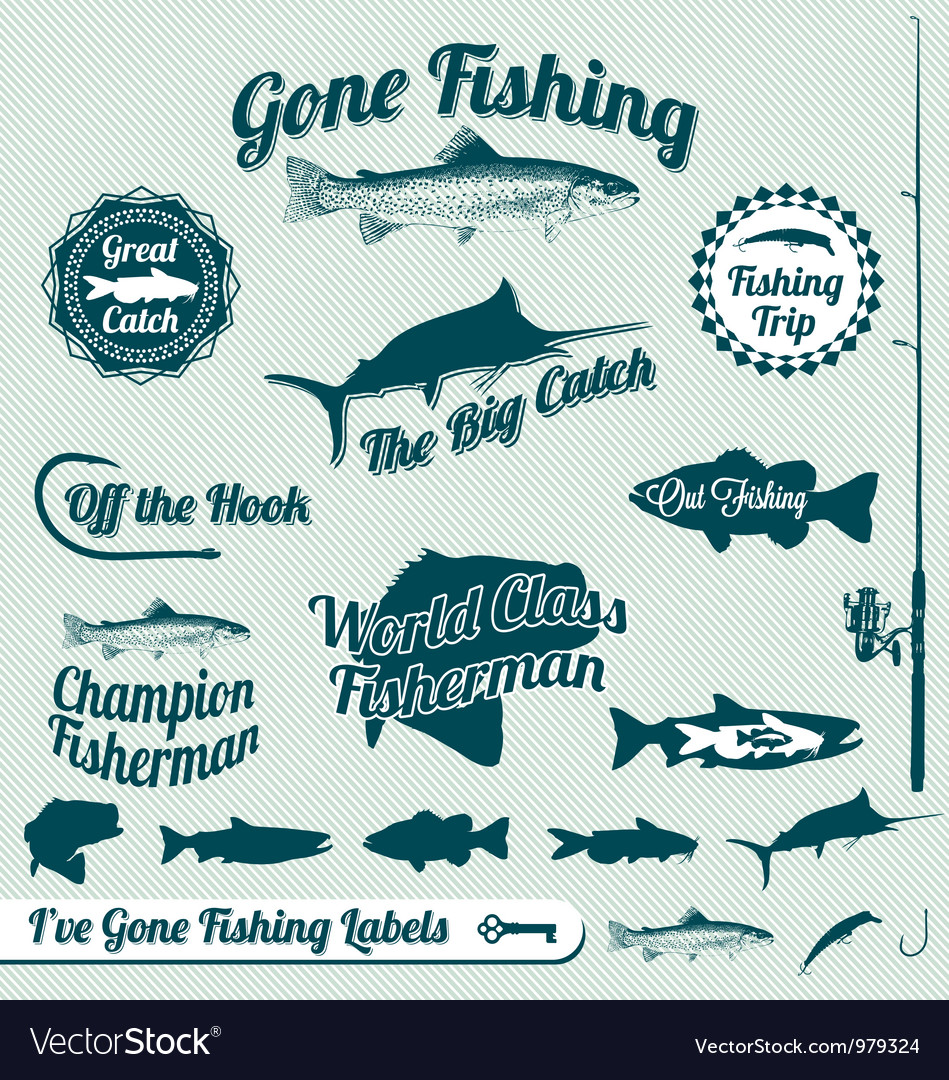 Gone fishing labels vector | Price: 1 Credit (USD $1)
