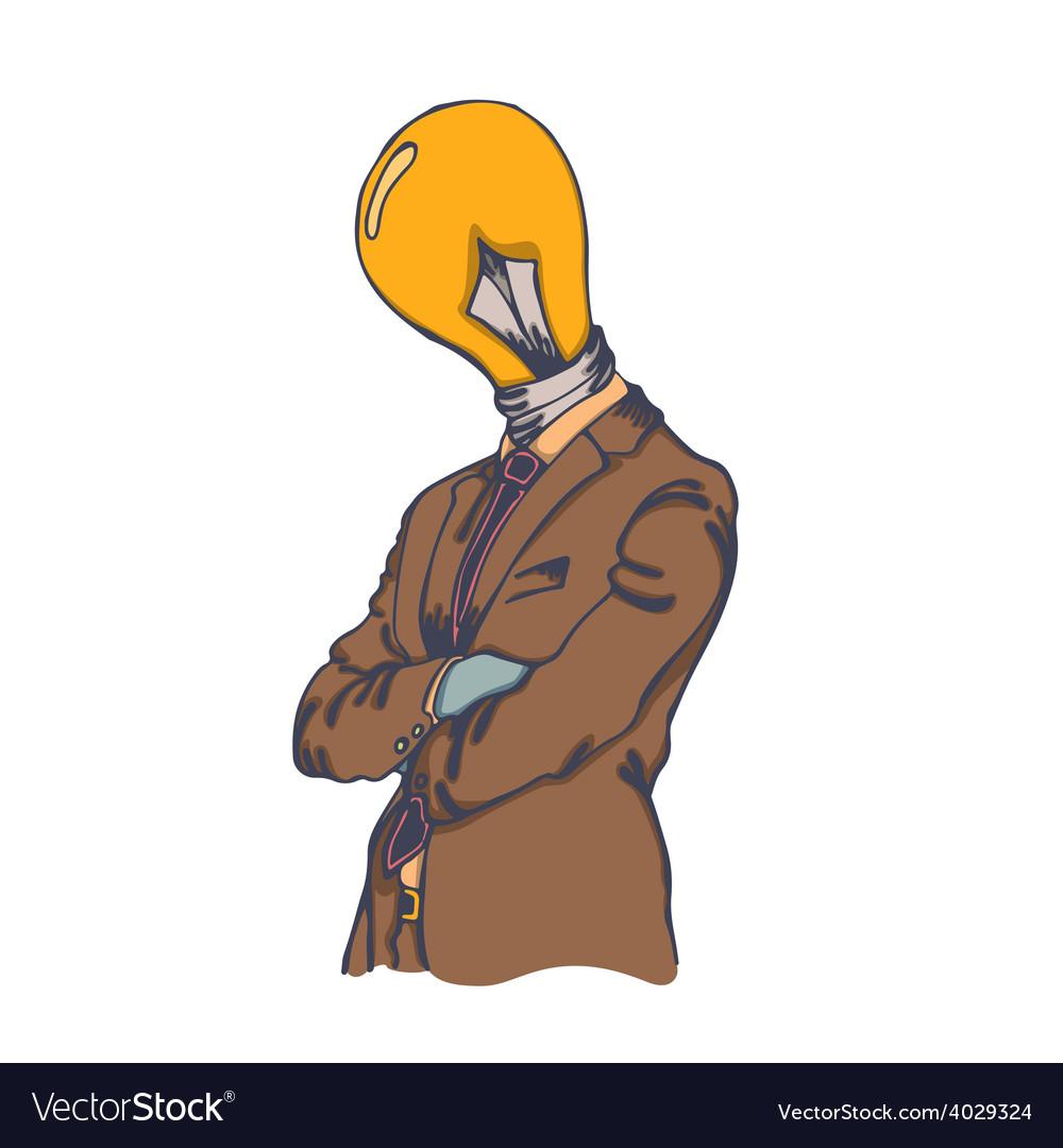 Isolated cartoon creative lightbulb head man vector | Price: 1 Credit (USD $1)