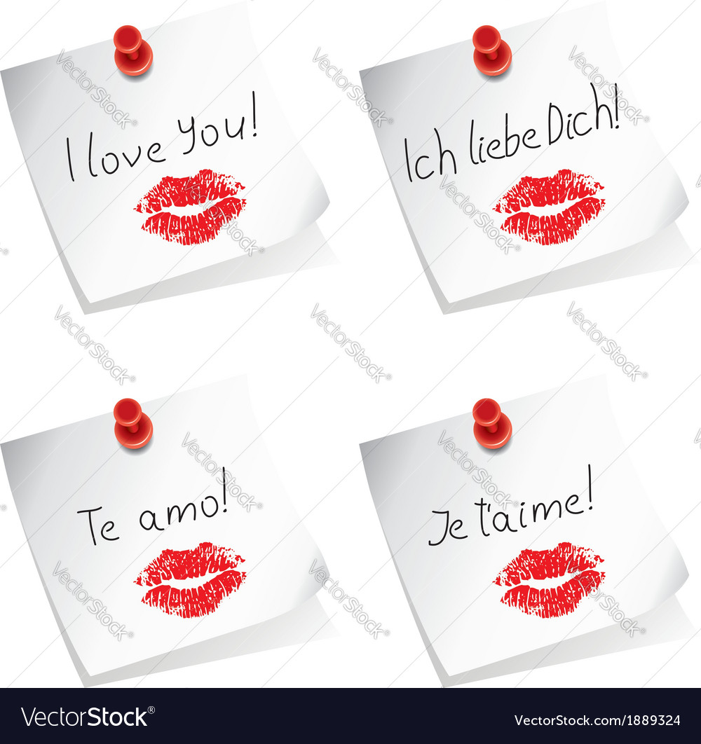 Love you paper notes vector | Price: 1 Credit (USD $1)