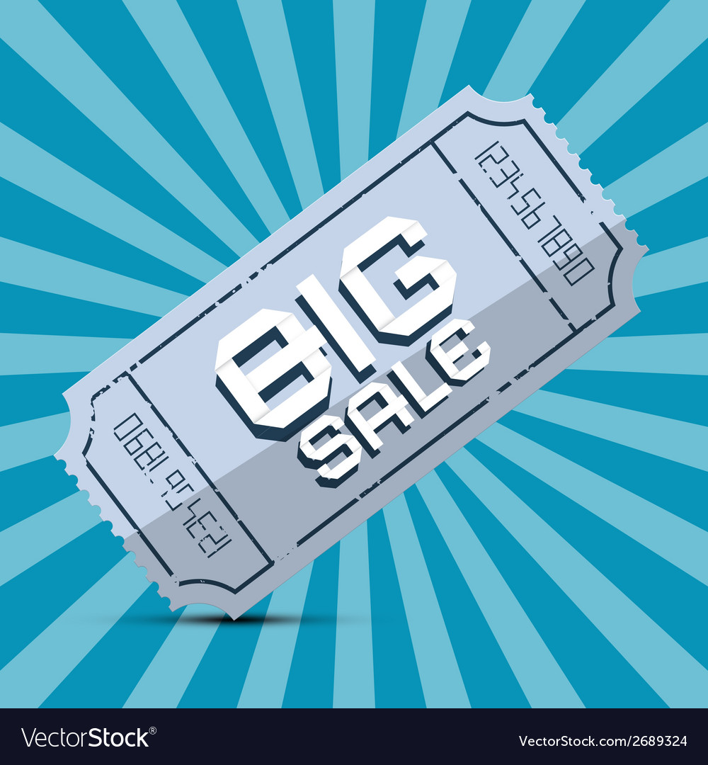 Retro big sale paper ticket on blue background vector | Price: 1 Credit (USD $1)