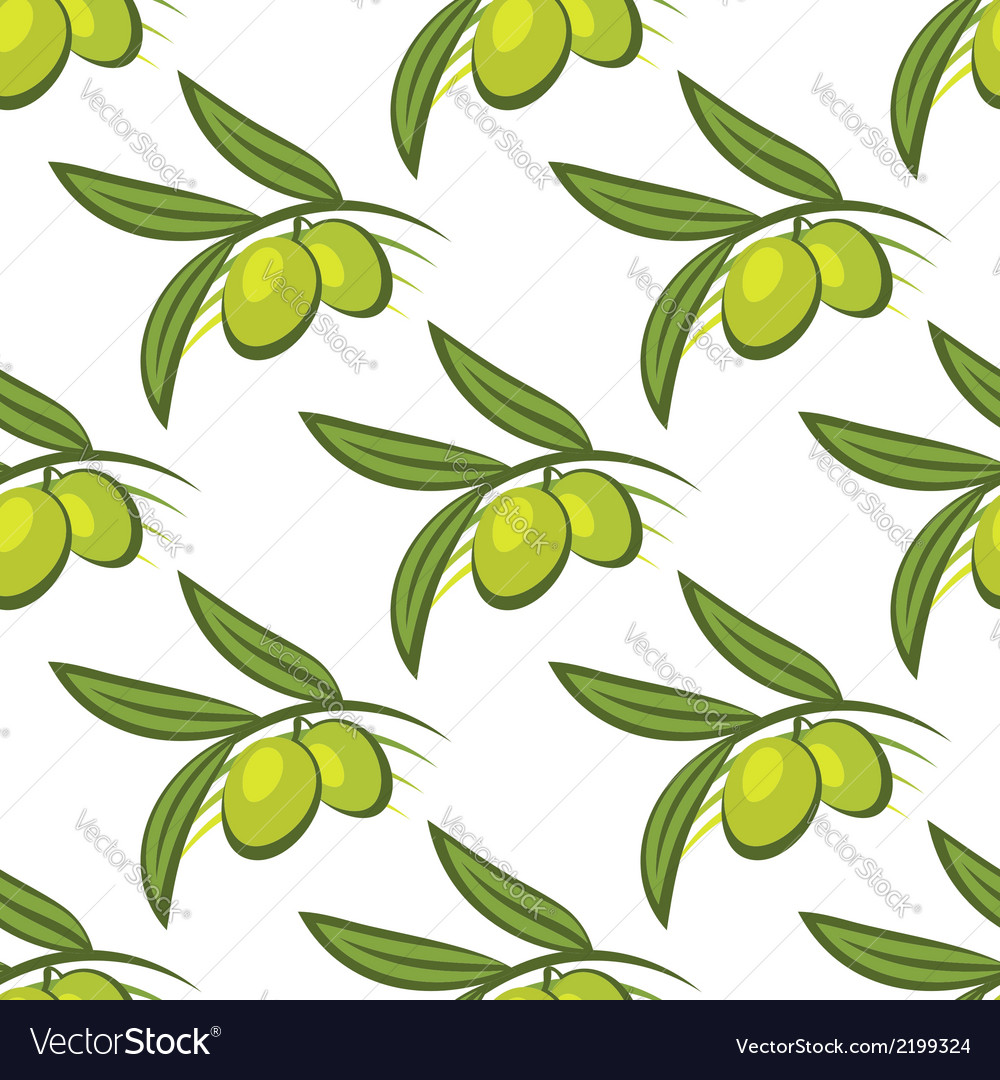 Seamless pattern of fresh green olives on a twig vector | Price: 1 Credit (USD $1)