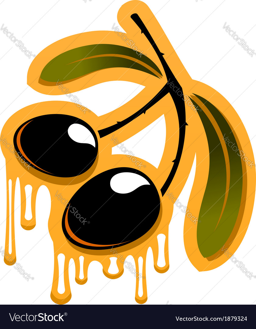 Two black olives dripping olive oil vector | Price: 1 Credit (USD $1)