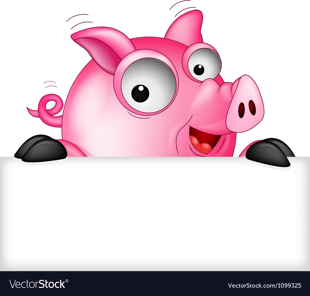Cartoon pig with white space vector | Price: 1 Credit (USD $1)