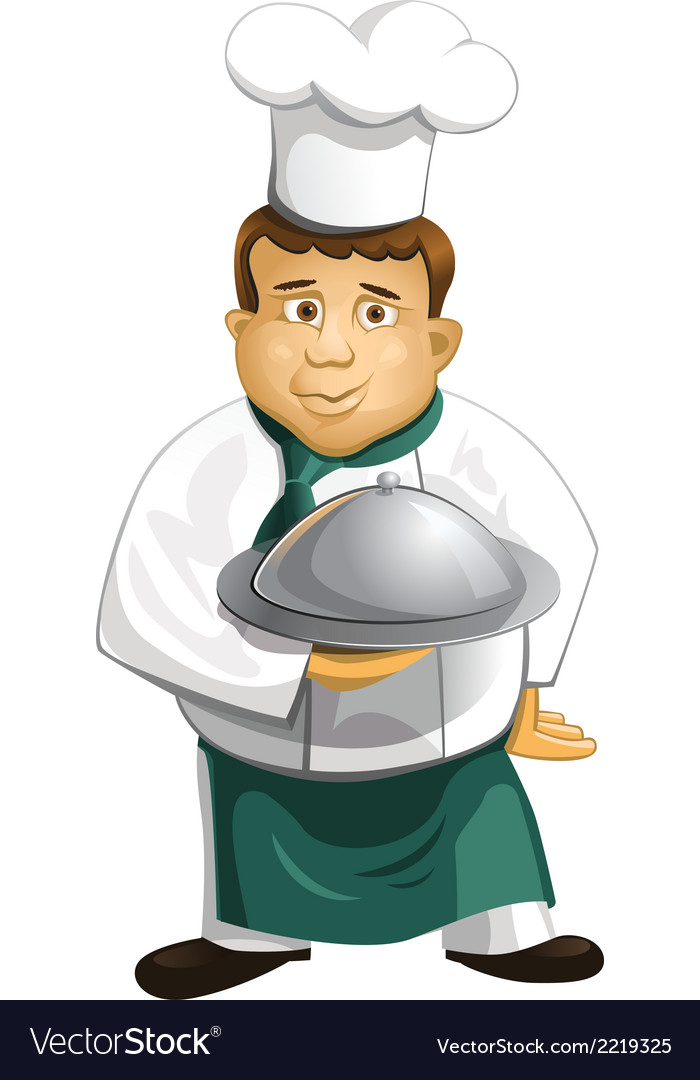 Chef in uniform with metal cloche isolated vector | Price: 1 Credit (USD $1)