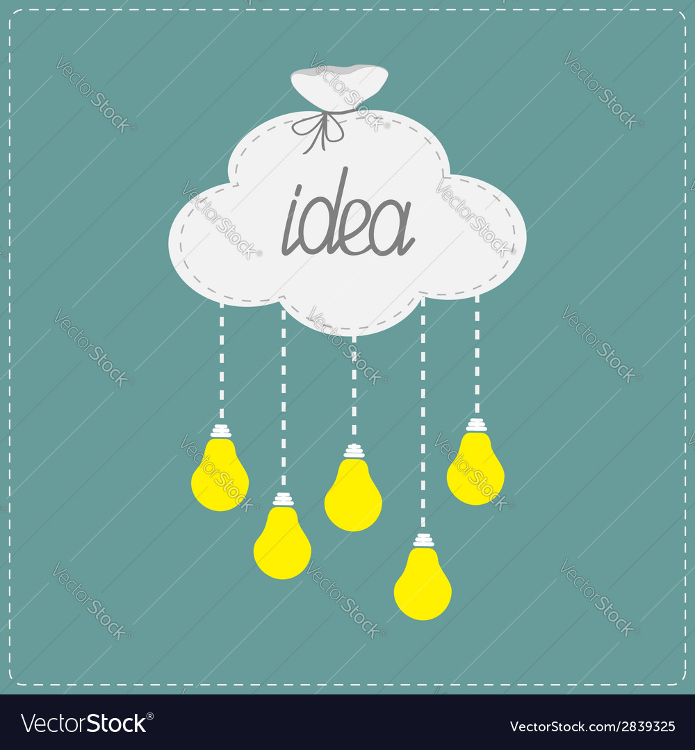 Cloud in shape of bag and hanging light bulbs vector | Price: 1 Credit (USD $1)