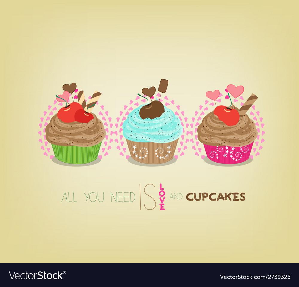 Cute retro cupcakes card vector | Price: 1 Credit (USD $1)