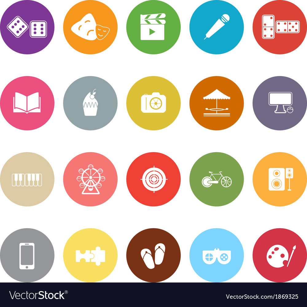 Entertainment flat icons on white background vector | Price: 1 Credit (USD $1)