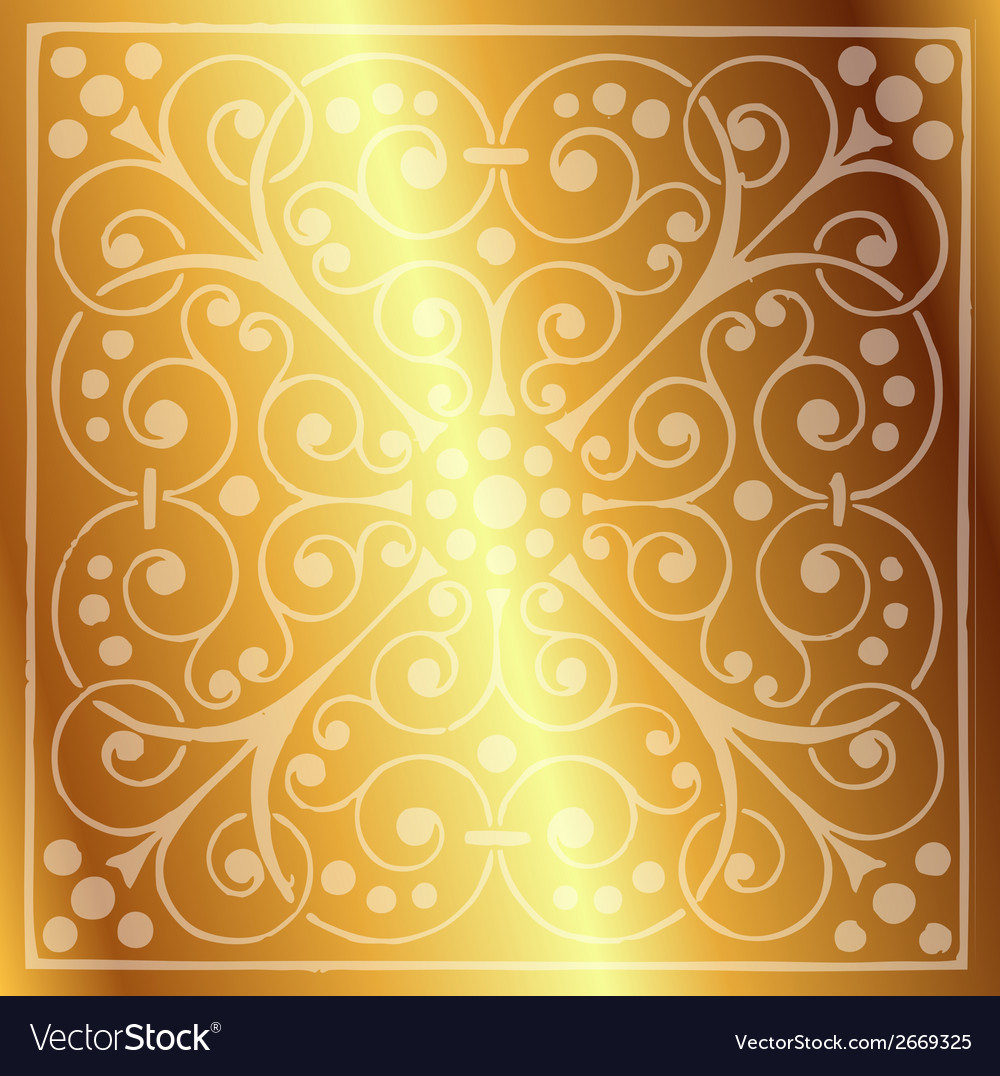 Floral pattern on a gold background vector | Price: 1 Credit (USD $1)