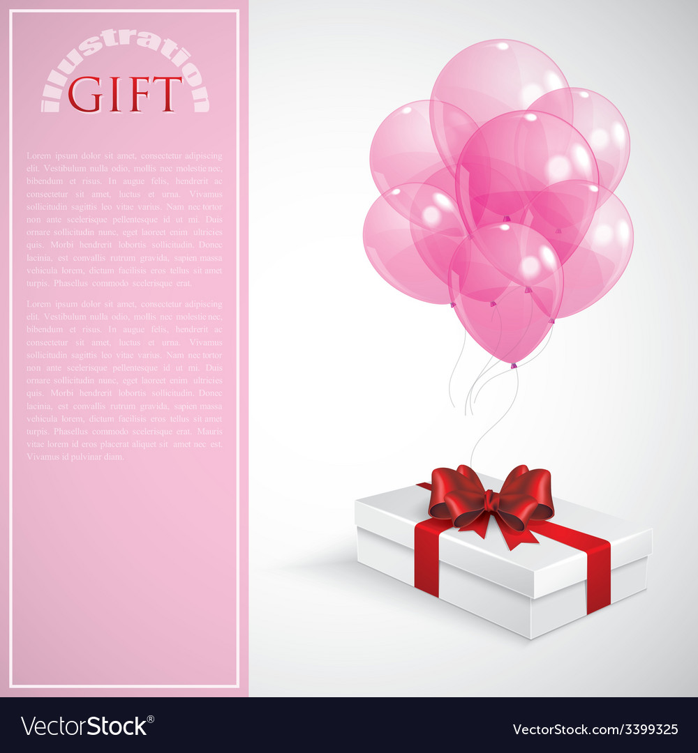 Gift box with red bow and bunch of pink vector | Price: 1 Credit (USD $1)