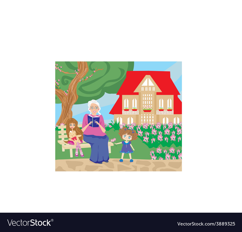 Grandmother and granddaughter in the garden vector | Price: 1 Credit (USD $1)